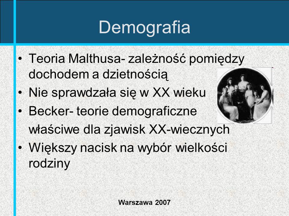 Demografia Teoria Malthusa- zależność pomiędzy dochodem a dzietnością