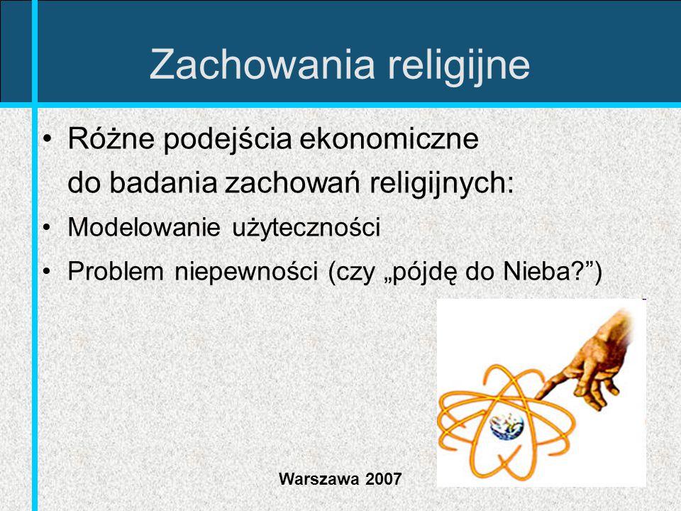 Zachowania religijne Różne podejścia ekonomiczne