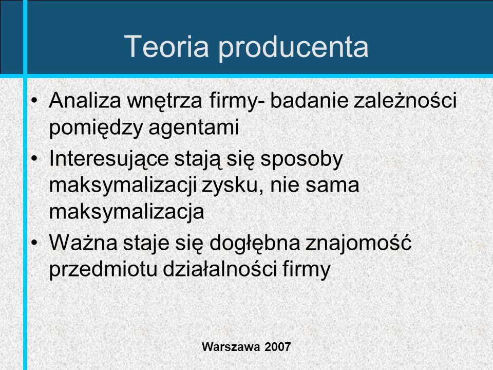 Teoria producenta Analiza wnętrza firmy- badanie zależności pomiędzy agentami.
