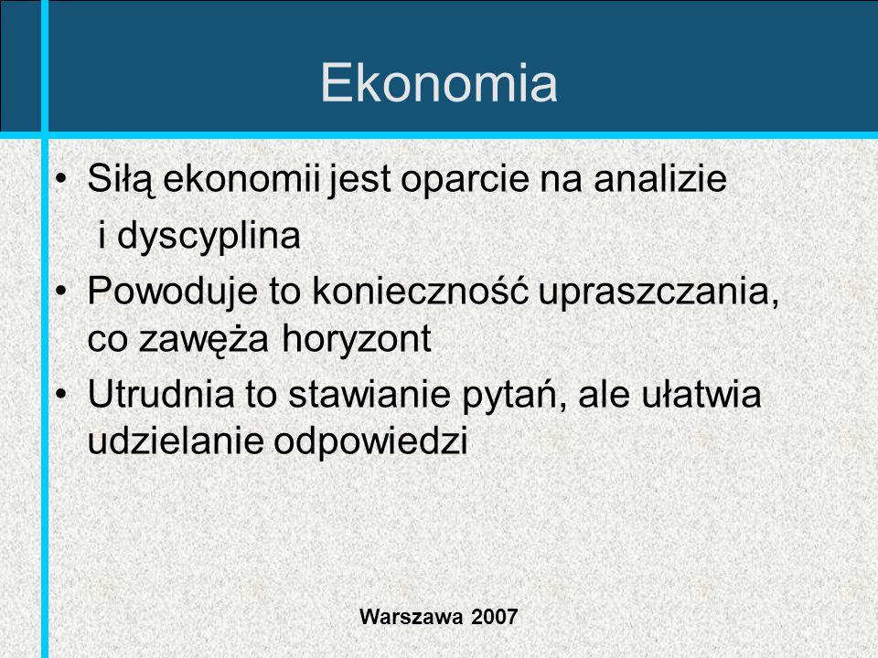 Ekonomia Siłą ekonomii jest oparcie na analizie i dyscyplina