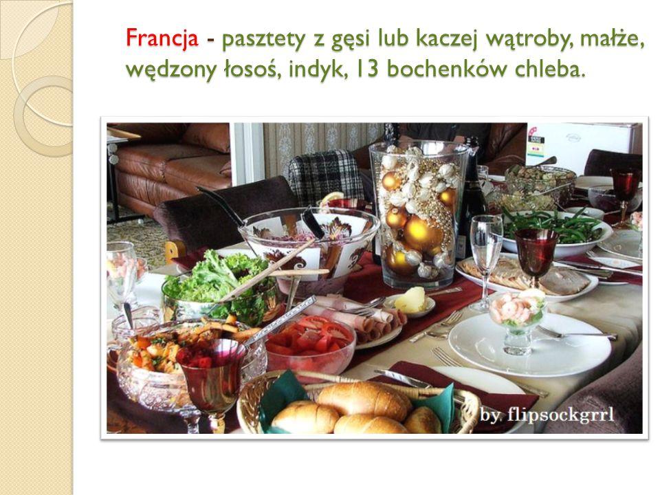 Francja - pasztety z gęsi lub kaczej wątroby, małże, wędzony łosoś, indyk, 13 bochenków chleba.