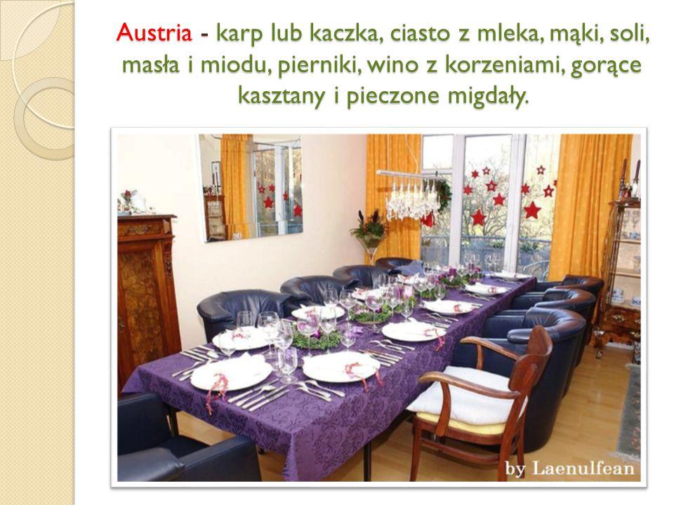Austria - karp lub kaczka, ciasto z mleka, mąki, soli, masła i miodu, pierniki, wino z korzeniami, gorące kasztany i pieczone migdały.