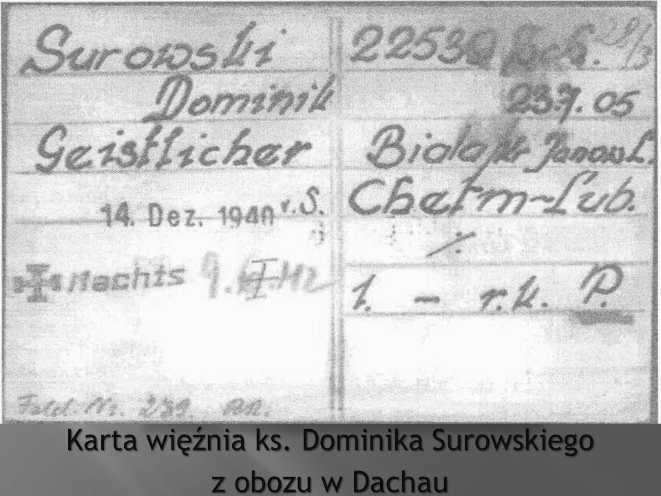 Karta więźnia ks. Dominika Surowskiego