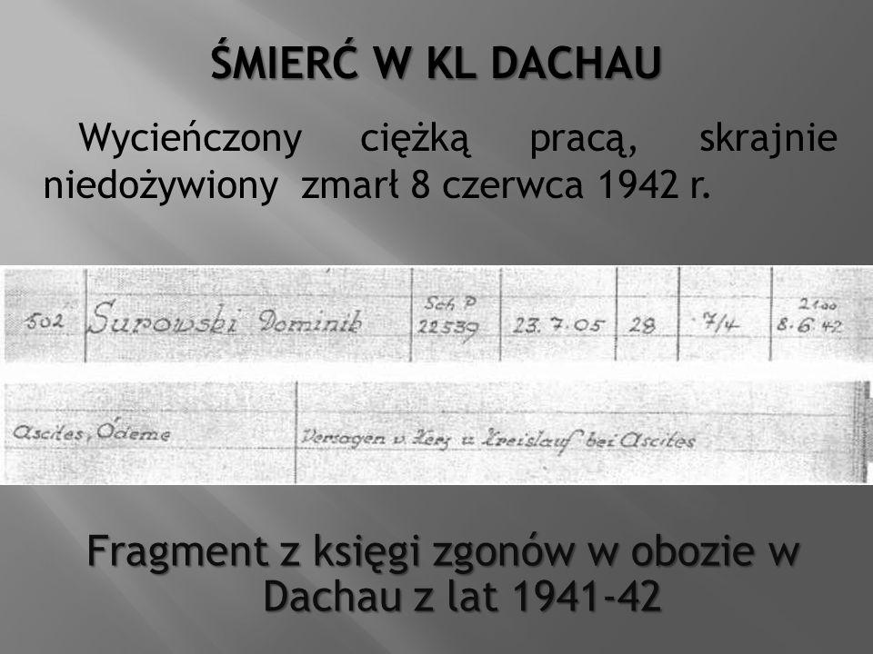 Fragment z księgi zgonów w obozie w Dachau z lat 1941-42