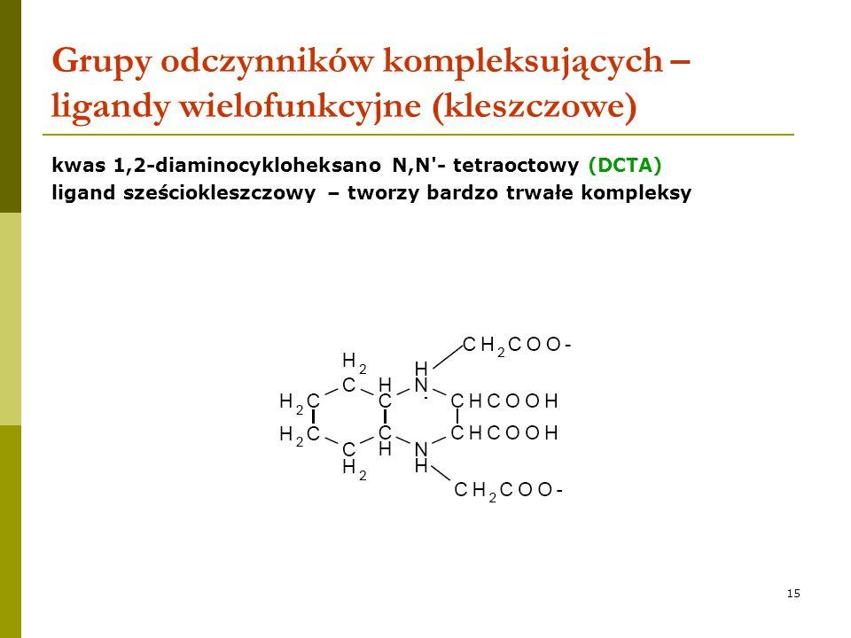 Grupy odczynników kompleksujących – ligandy wielofunkcyjne (kleszczowe)