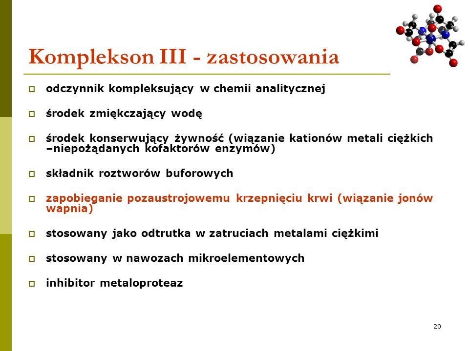 Komplekson III - zastosowania