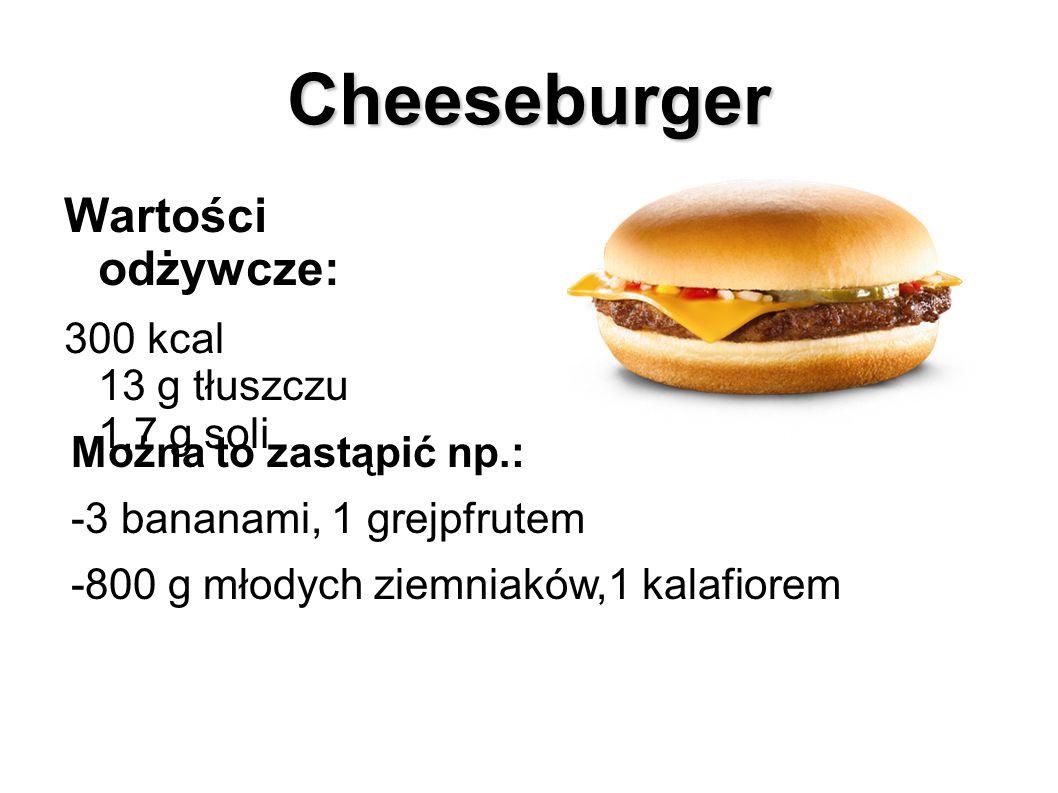 Cheeseburger Wartości odżywcze: 300 kcal 13 g tłuszczu 1,7 g soli