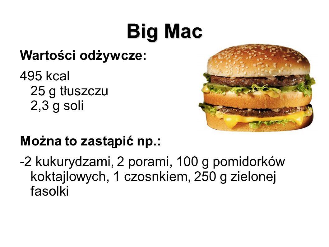 Big Mac Wartości odżywcze: 495 kcal 25 g tłuszczu 2,3 g soli