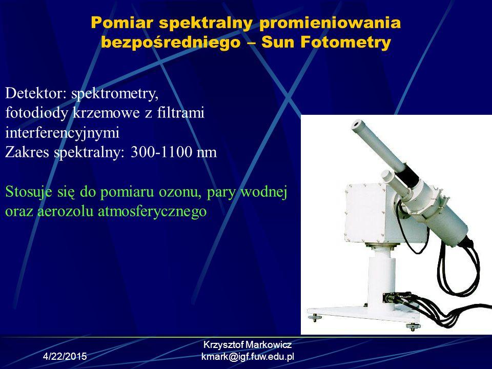 Pomiar spektralny promieniowania bezpośredniego – Sun Fotometry