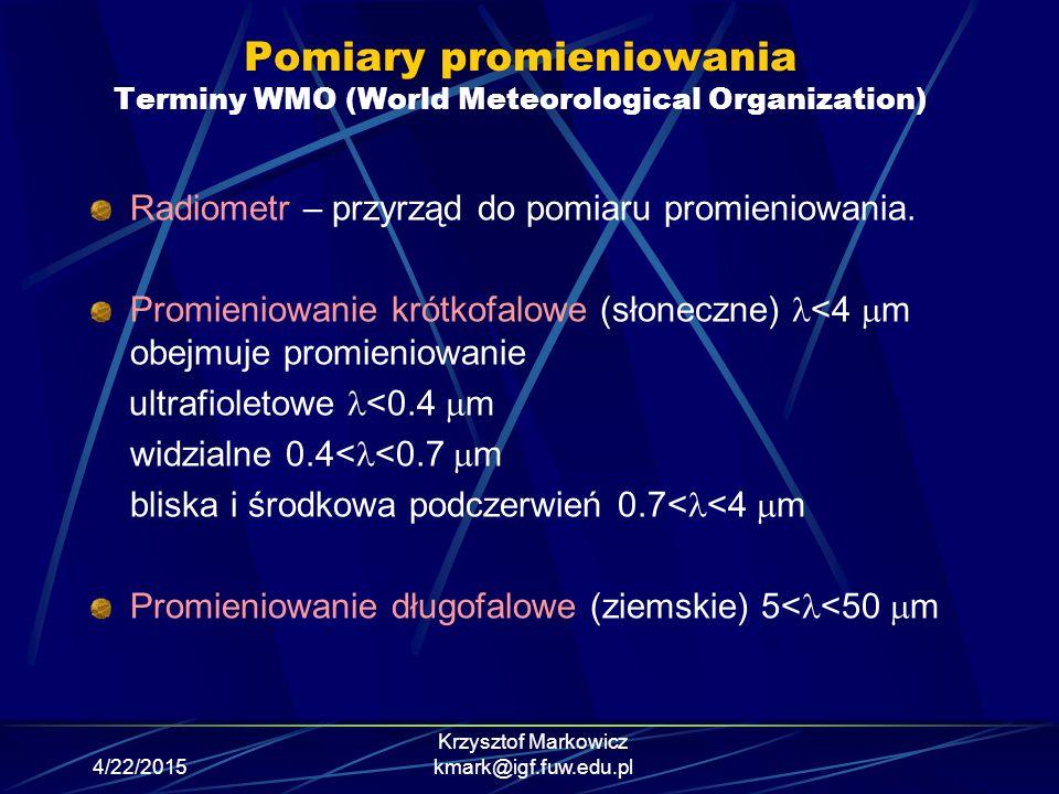Pomiary promieniowania Terminy WMO (World Meteorological Organization)