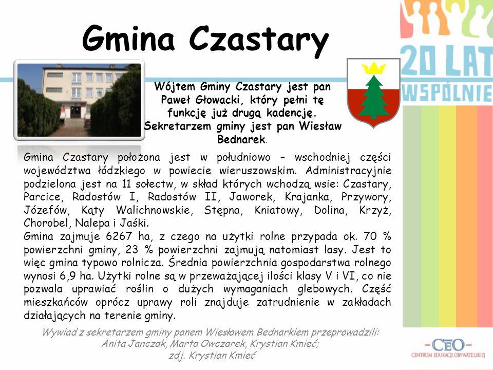 Gmina Czastary Wójtem Gminy Czastary jest pan Paweł Głowacki, który pełni tę funkcję już drugą kadencję. Sekretarzem gminy jest pan Wiesław Bednarek.