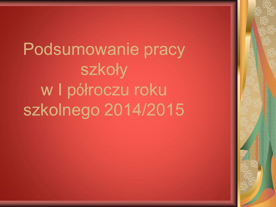 Podsumowanie pracy szkoły w I półroczu roku szkolnego 2014/2015