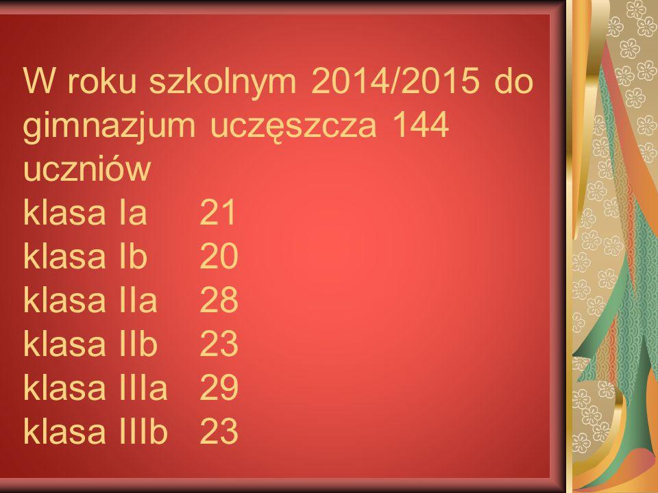 W roku szkolnym 2014/2015 do gimnazjum uczęszcza 144 uczniów klasa Ia 21 klasa Ib 20 klasa IIa 28 klasa IIb 23 klasa IIIa 29 klasa IIIb 23