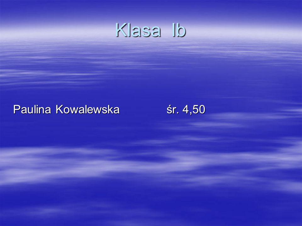 Klasa Ib Paulina Kowalewska śr. 4,50