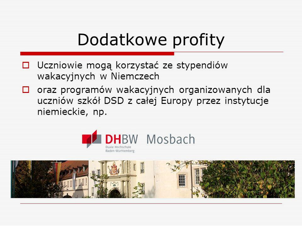 Dodatkowe profity Uczniowie mogą korzystać ze stypendiów wakacyjnych w Niemczech.