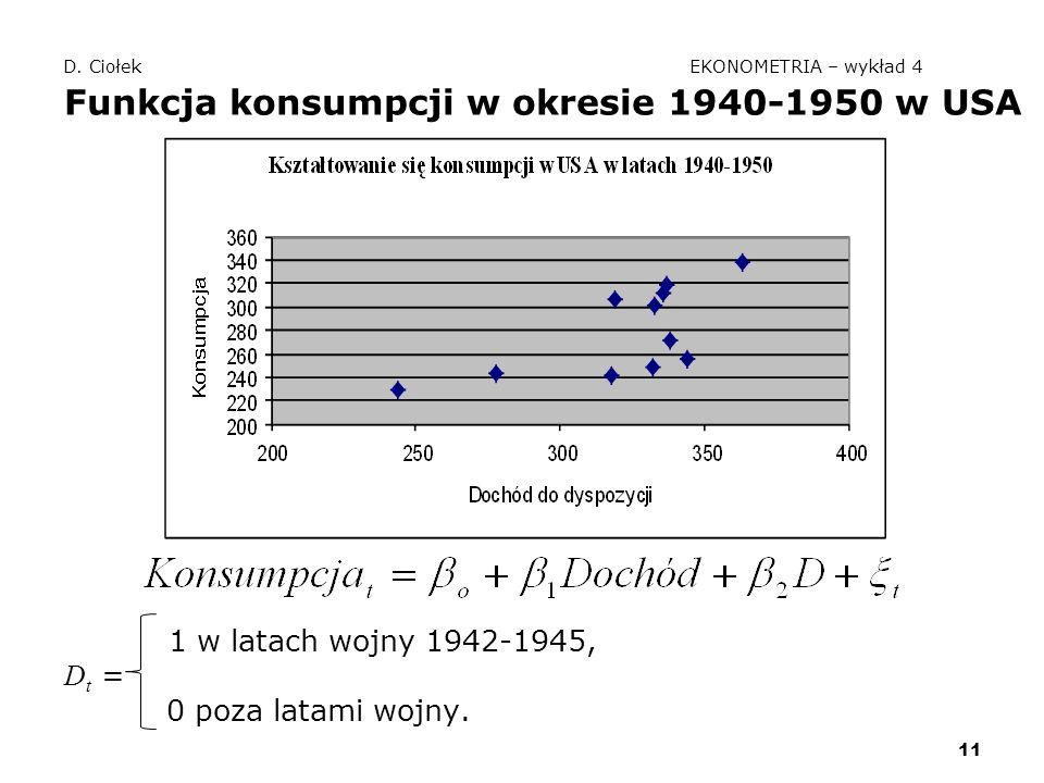 D. Ciołek EKONOMETRIA – wykład 4