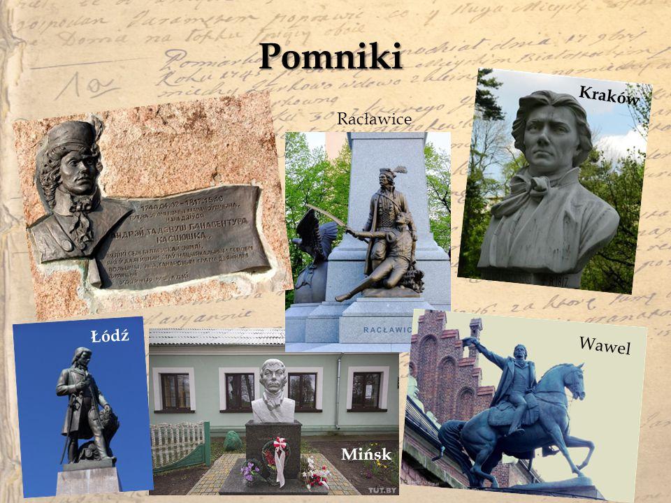 Pomniki Kraków Racławice Łódź Wawel Mińsk