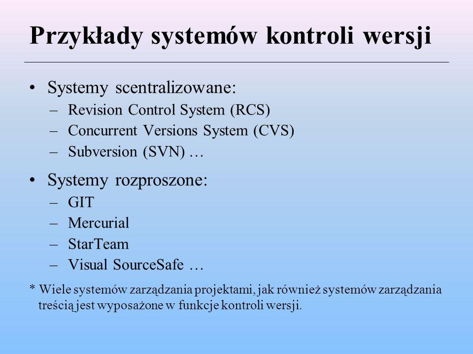 Przykłady systemów kontroli wersji
