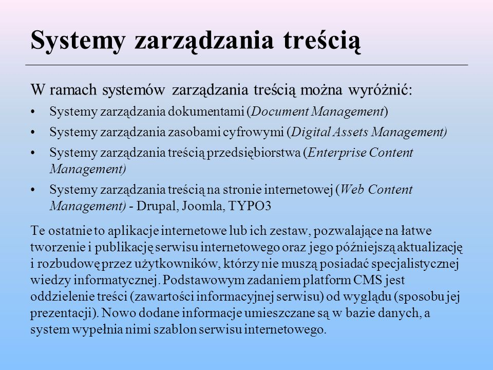 Systemy zarządzania treścią