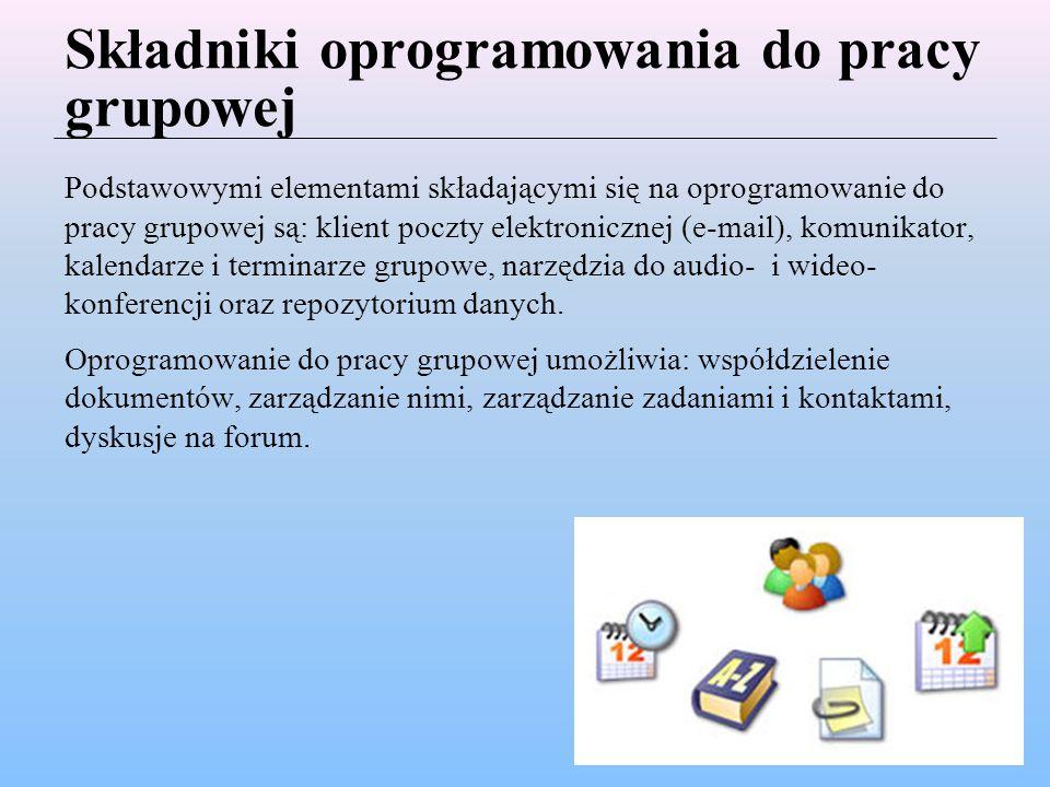 Składniki oprogramowania do pracy grupowej
