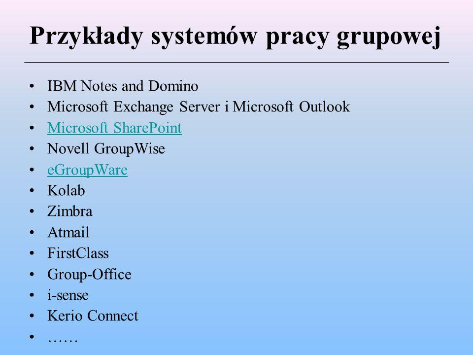 Przykłady systemów pracy grupowej