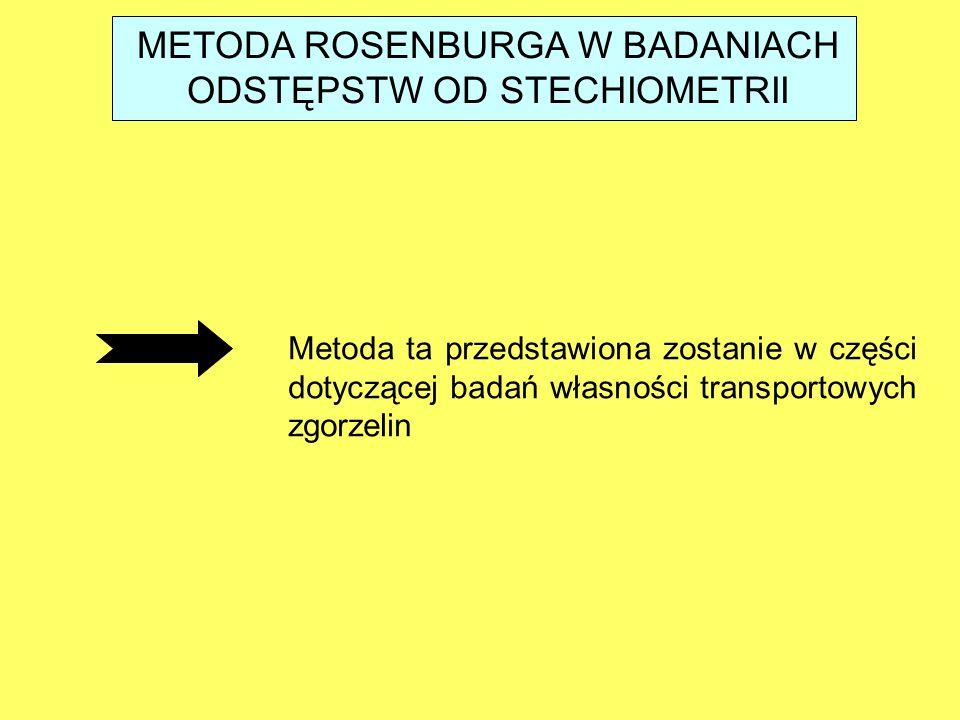 METODA ROSENBURGA W BADANIACH ODSTĘPSTW OD STECHIOMETRII