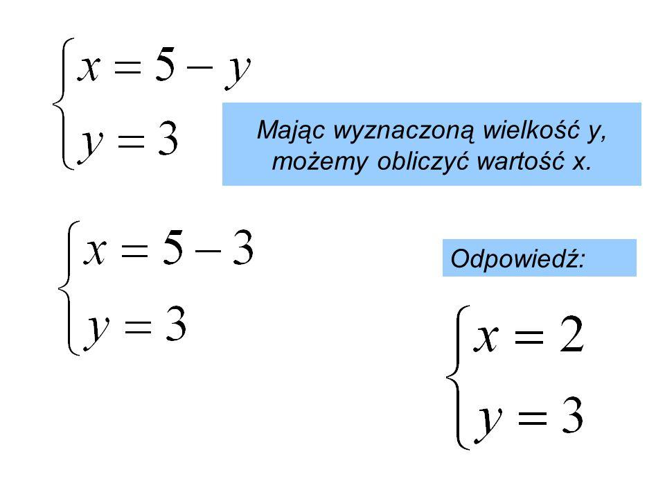 Mając wyznaczoną wielkość y, możemy obliczyć wartość x.