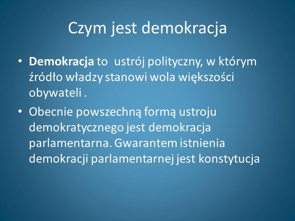 Czym jest demokracja Demokracja to ustrój polityczny, w którym źródło władzy stanowi wola większości obywateli .