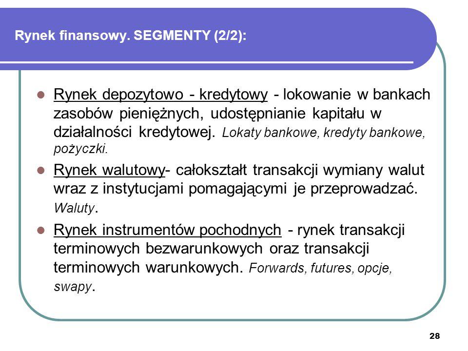 Rynek finansowy. SEGMENTY (2/2):