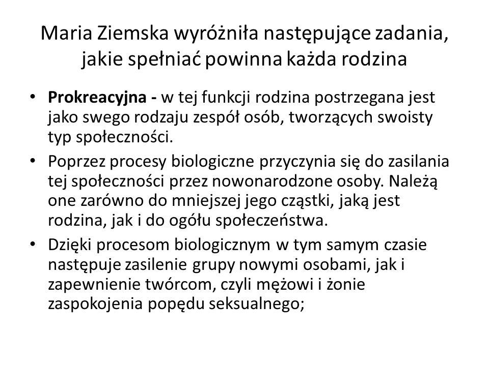 Maria Ziemska wyróżniła następujące zadania, jakie spełniać powinna każda rodzina