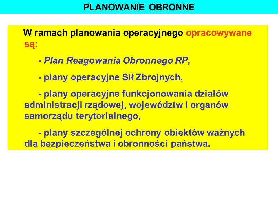 PLANOWANIE OBRONNE W ramach planowania operacyjnego opracowywane są: - Plan Reagowania Obronnego RP,