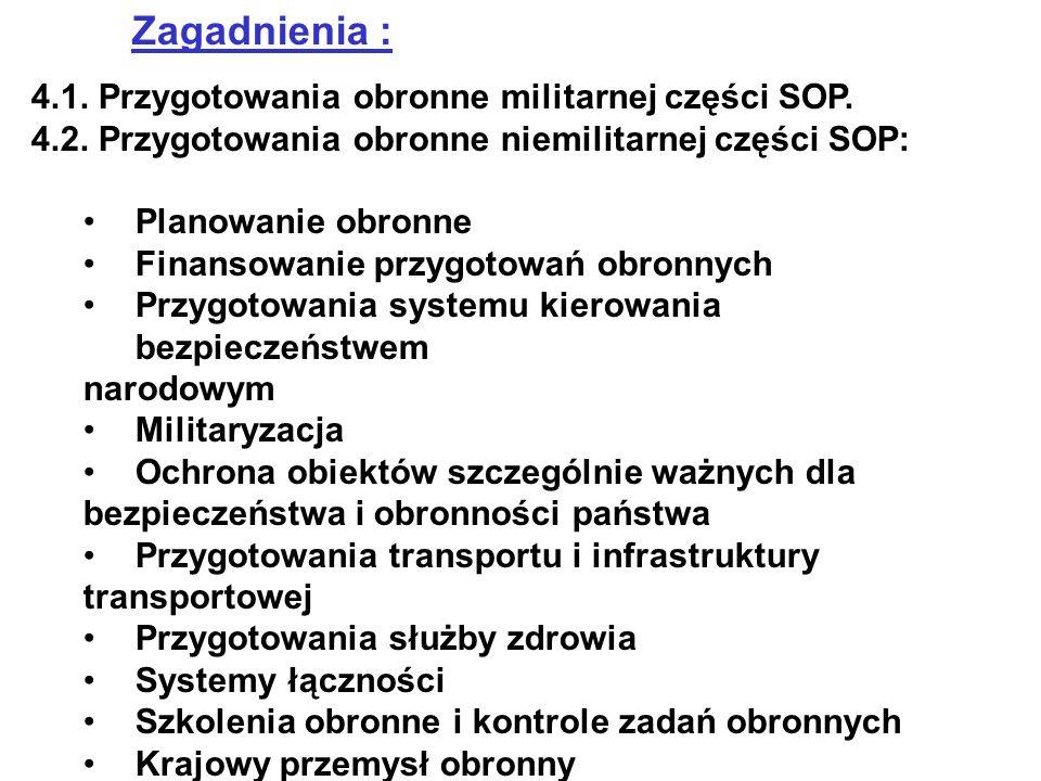 Zagadnienia : 4.1. Przygotowania obronne militarnej części SOP.