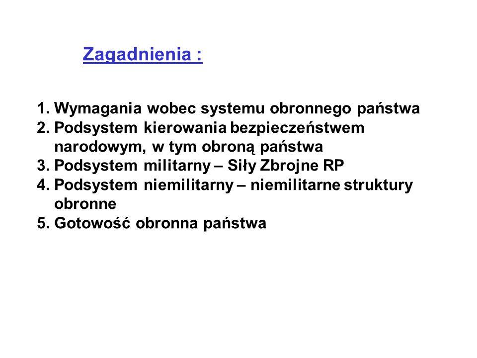 Zagadnienia : 1. Wymagania wobec systemu obronnego państwa