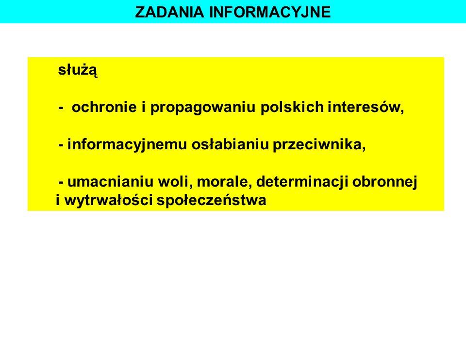 ZADANIA INFORMACYJNE służą. - ochronie i propagowaniu polskich interesów, - informacyjnemu osłabianiu przeciwnika,