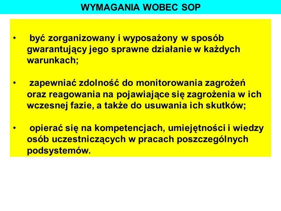 WYMAGANIA WOBEC SOP być zorganizowany i wyposażony w sposób gwarantujący jego sprawne działanie w każdych warunkach;