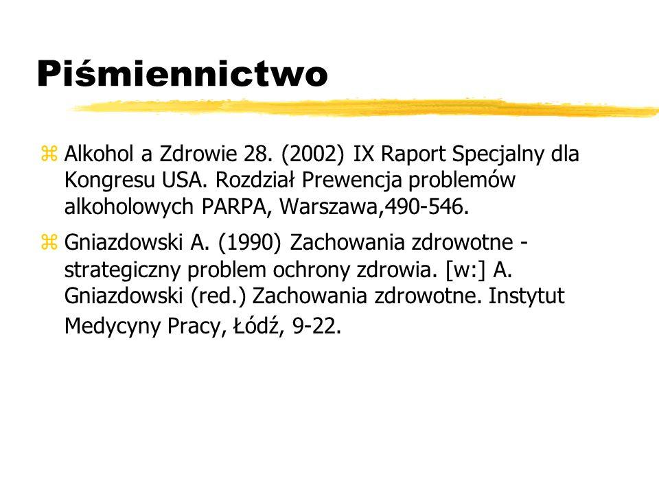 Piśmiennictwo Alkohol a Zdrowie 28. (2002) IX Raport Specjalny dla Kongresu USA. Rozdział Prewencja problemów alkoholowych PARPA, Warszawa,490-546.