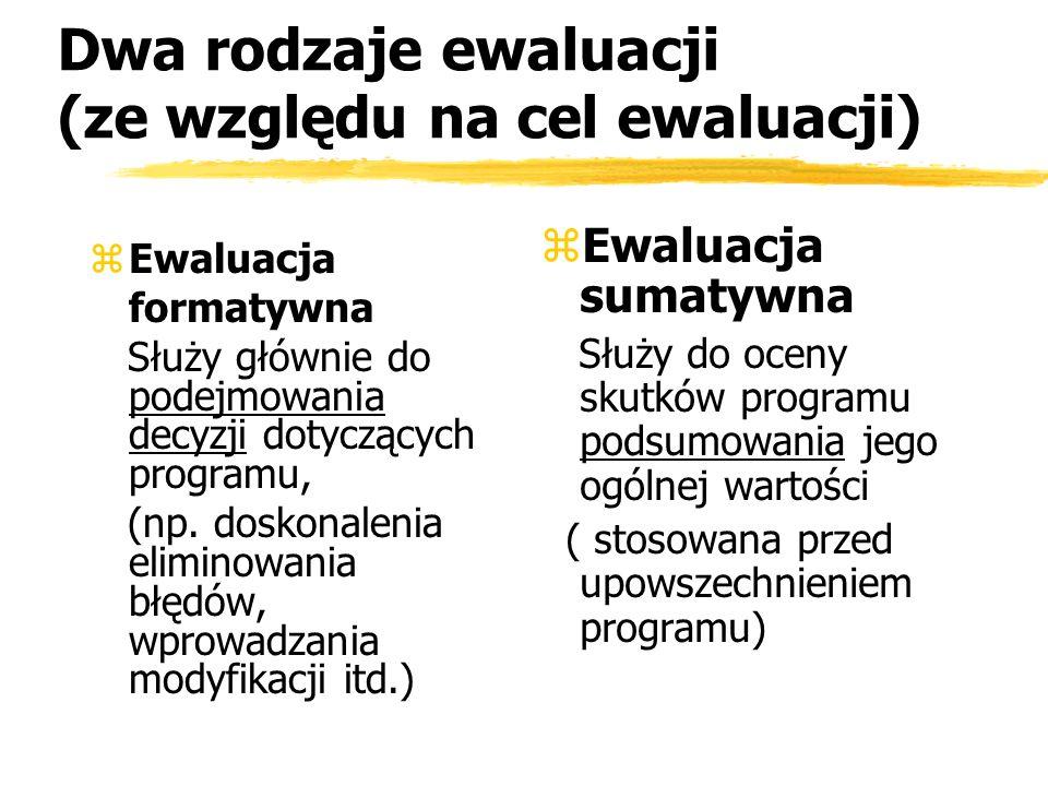 Dwa rodzaje ewaluacji (ze względu na cel ewaluacji)