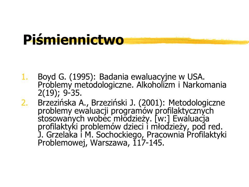 Piśmiennictwo Boyd G. (1995): Badania ewaluacyjne w USA. Problemy metodologiczne. Alkoholizm i Narkomania 2(19); 9-35.