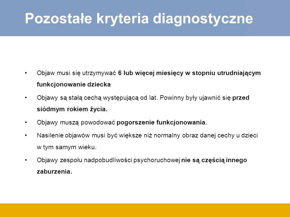 Pozostałe kryteria diagnostyczne