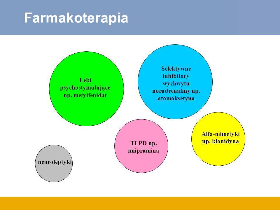 FarmakoterapiaSelektywne inhibitory wychwytu noradrenaliny np. atomoksetyna. Leki psychostymulujące np. metylfenidat.