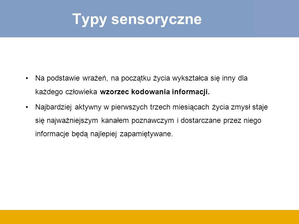 Typy sensoryczne Na podstawie wrażeń, na początku życia wykształca się inny dla każdego człowieka wzorzec kodowania informacji.