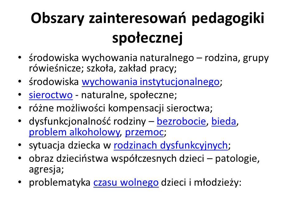 Obszary zainteresowań pedagogiki społecznej