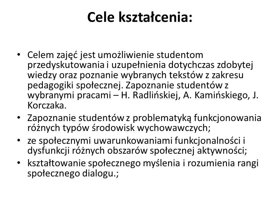 Cele kształcenia: