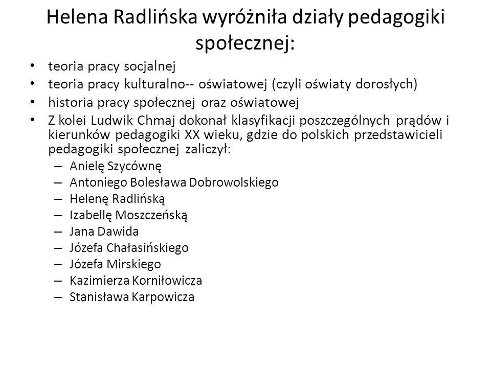 Helena Radlińska wyróżniła działy pedagogiki społecznej: