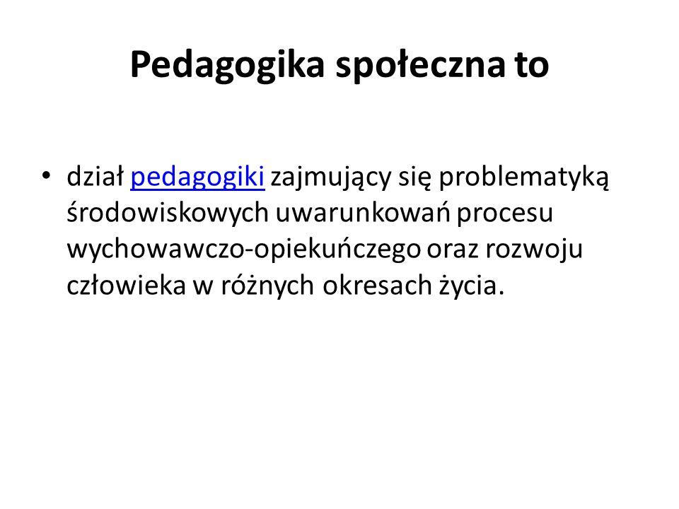 Pedagogika społeczna to