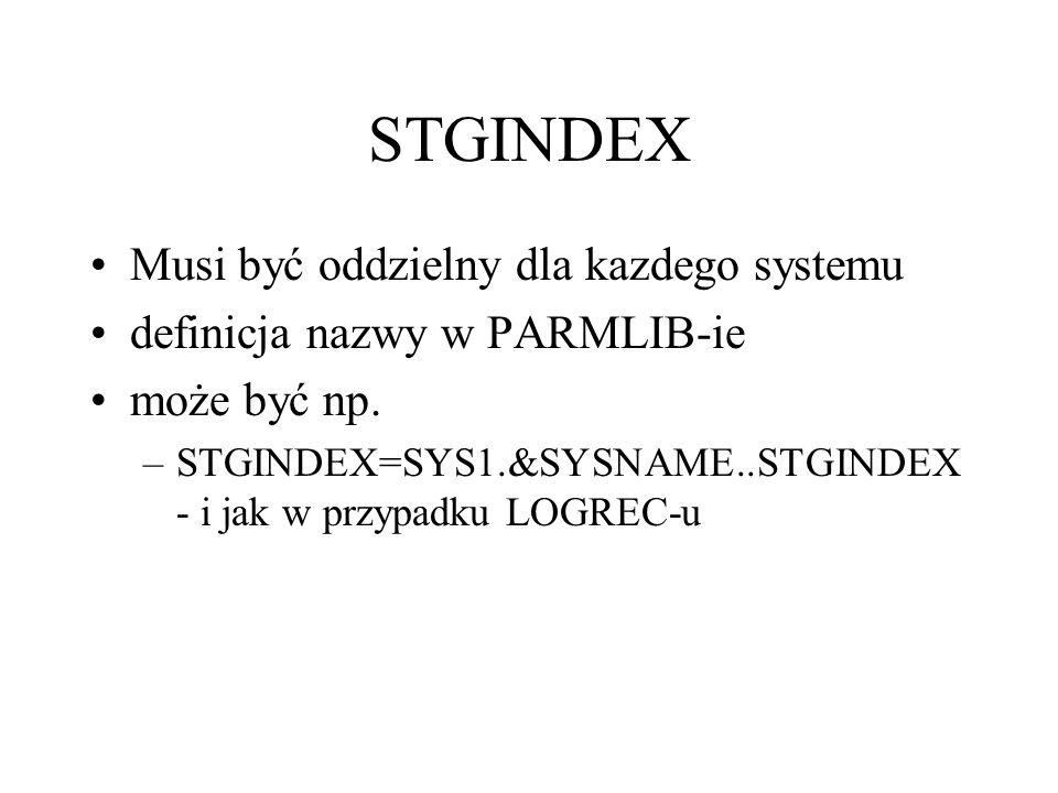 STGINDEX Musi być oddzielny dla kazdego systemu