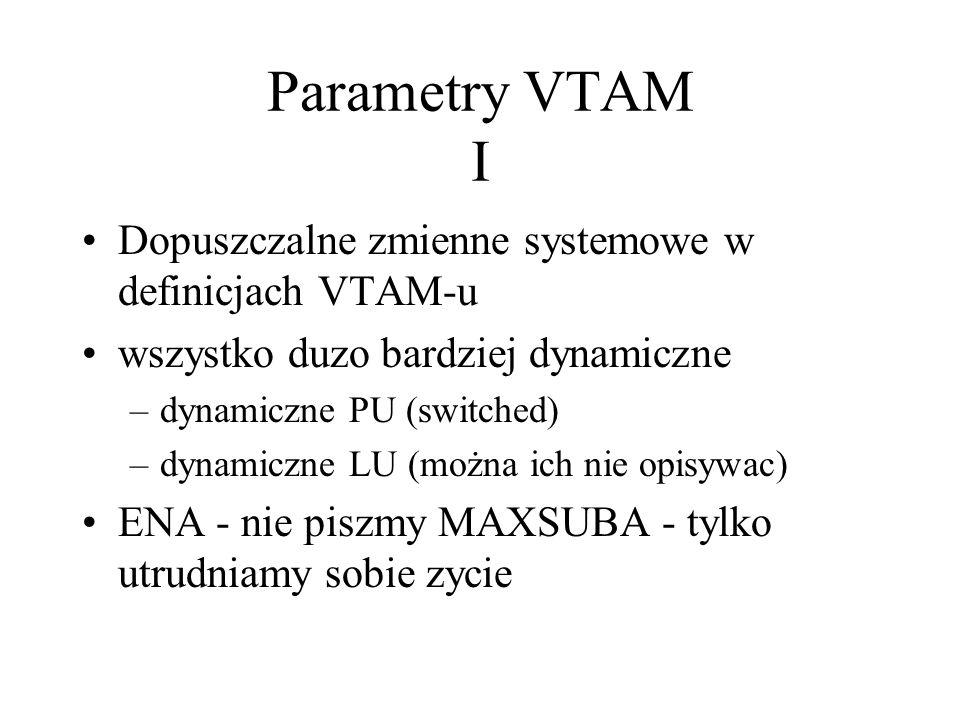 Parametry VTAM I Dopuszczalne zmienne systemowe w definicjach VTAM-u