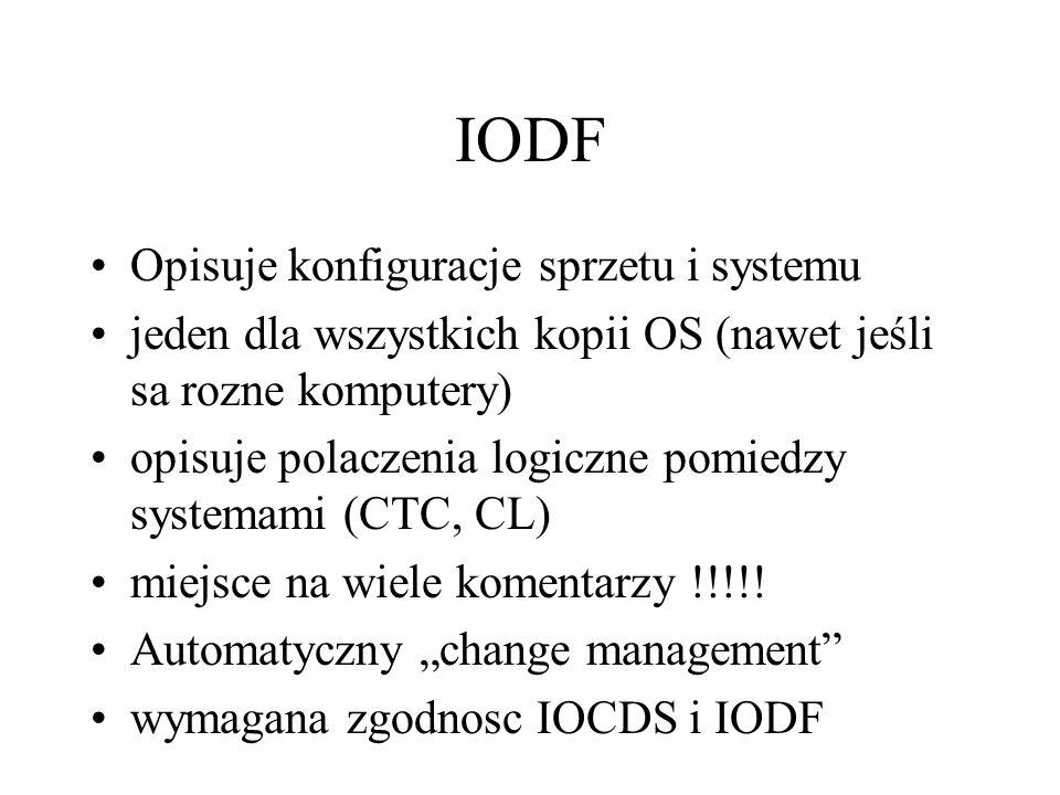 IODF Opisuje konfiguracje sprzetu i systemu