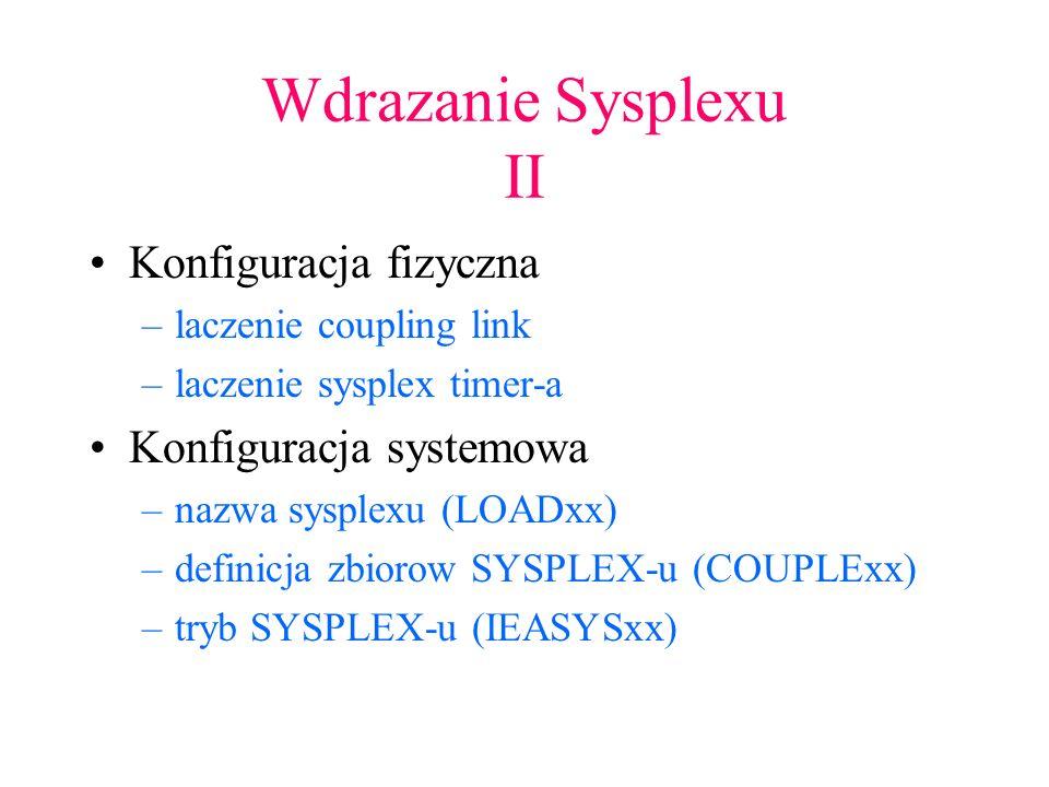 Wdrazanie Sysplexu II Konfiguracja fizyczna Konfiguracja systemowa