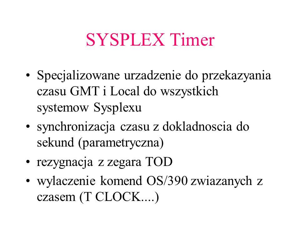 SYSPLEX TimerSpecjalizowane urzadzenie do przekazyania czasu GMT i Local do wszystkich systemow Sysplexu.